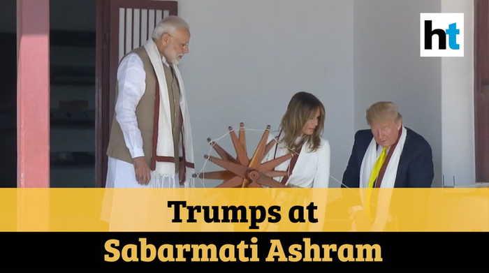 Trump in India: US President, First Lady visit Sabarmati Ashram, spin charkha