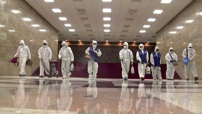 Workers disinfect South Korea's parliament