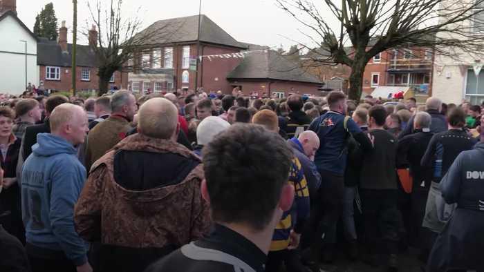 Hundreds do battle in Ashbourne's Shrovetide Football Match