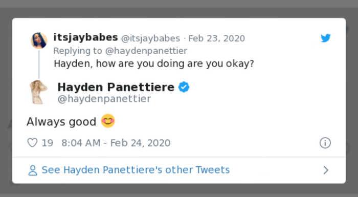 Hayden Panettiere reassures fans following boyfriend's arrest