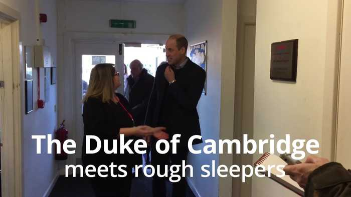 The Duke of Cambridge meets rough sleepers in Mansfield