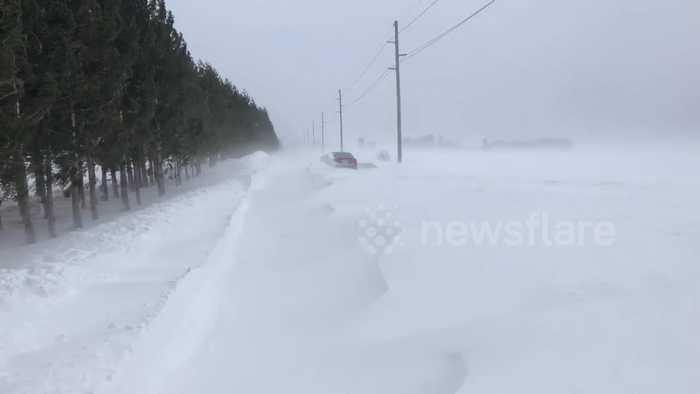 Abandoned vehicles, near head-on collisions during dangerous blizzard in Canada
