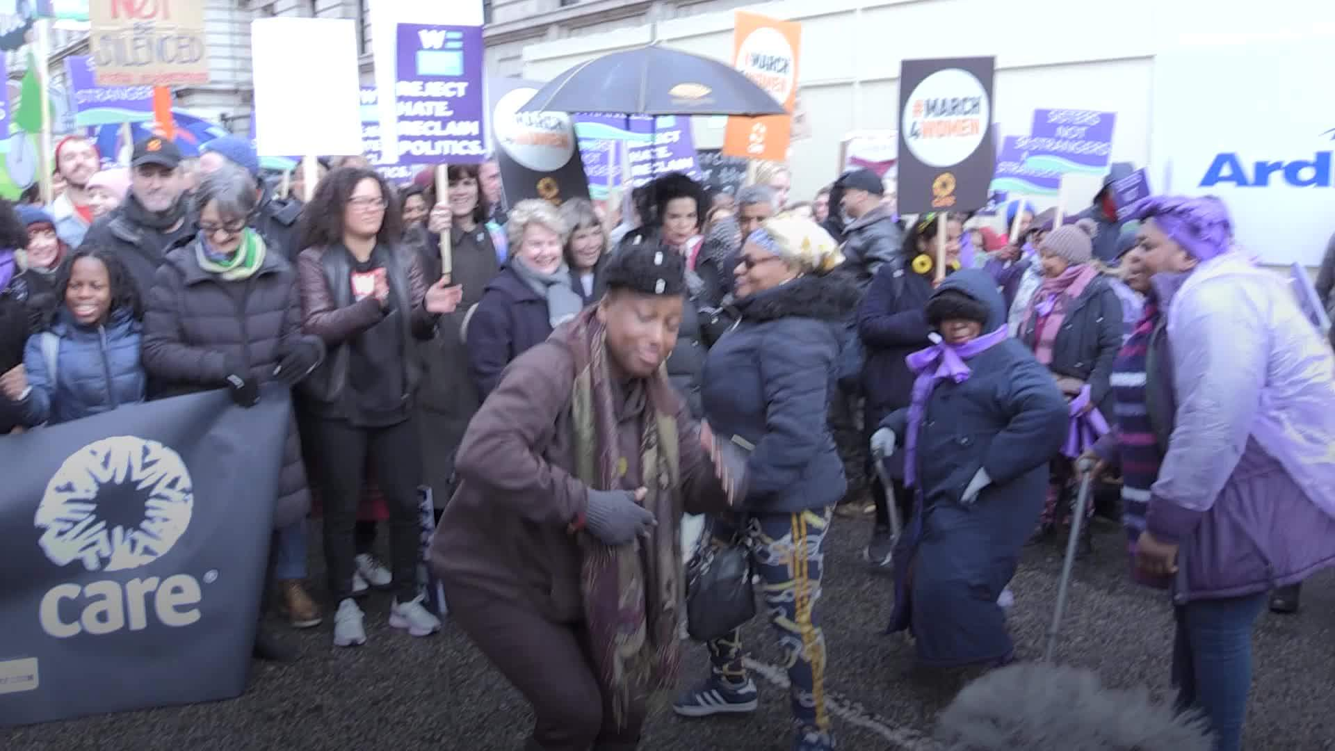 Sandi Toksvig joins International Women's Day protesters to demand climate and gender justice