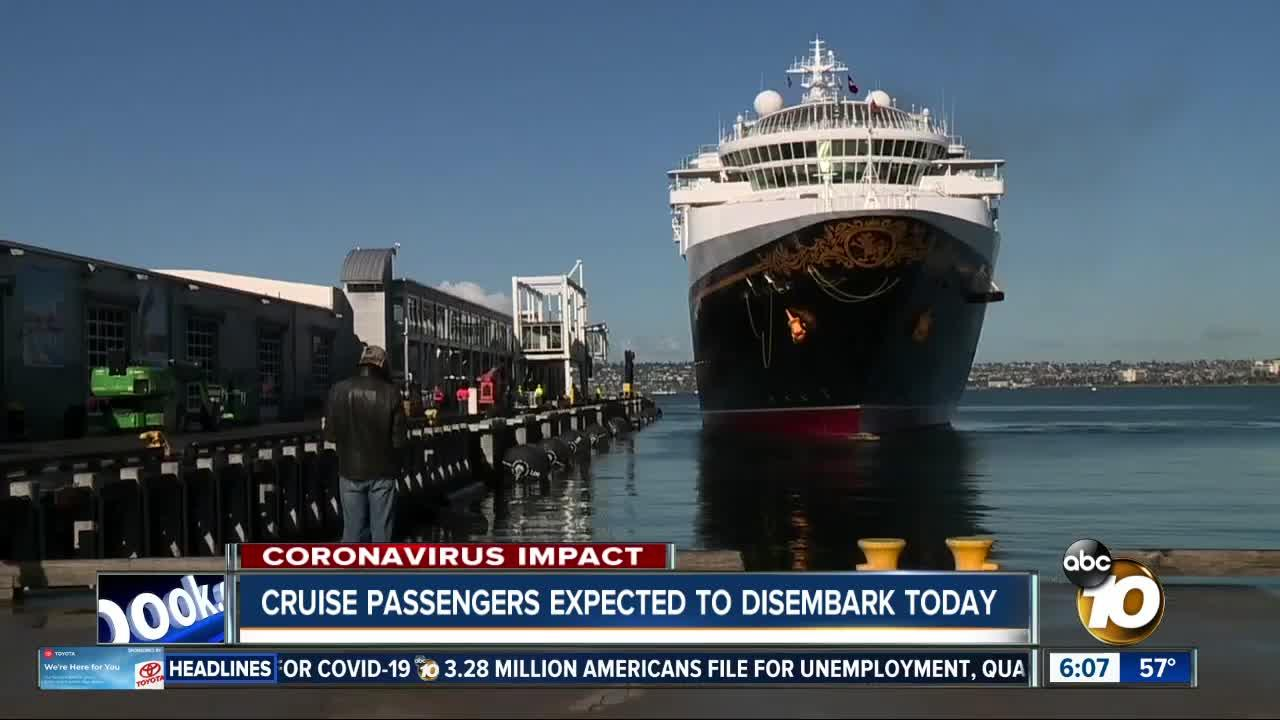 Passengers expected to disembark Monday from cruise ship docked in San Diego