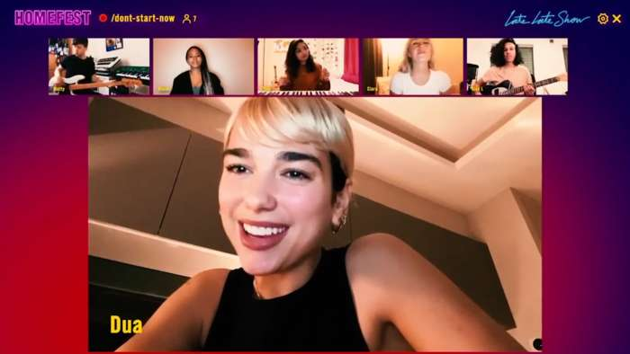 Dua Lipa performs 'Don't Start Now' on video chat