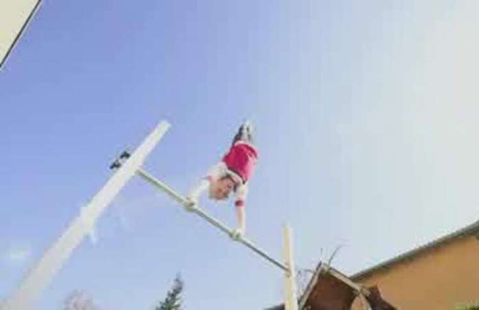 German gymnasts find novel ways to train at home