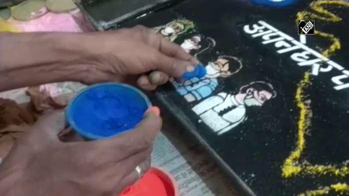 Jal Sanjhi artist spreads awareness on coronavirus through water painting