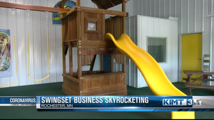 Swingset business soars while parents find ways to keep kids active
