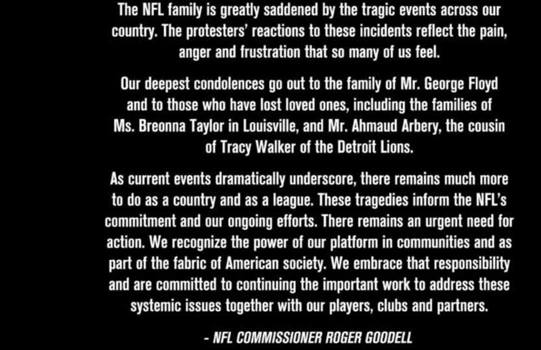 NFL's Goodell releases statement saying league is 'greatly saddened' by killings of black people in the U.S.