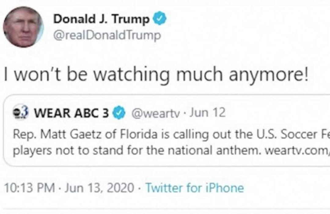 Trump won't watch NFL games or U.S. soccer matches if players kneel