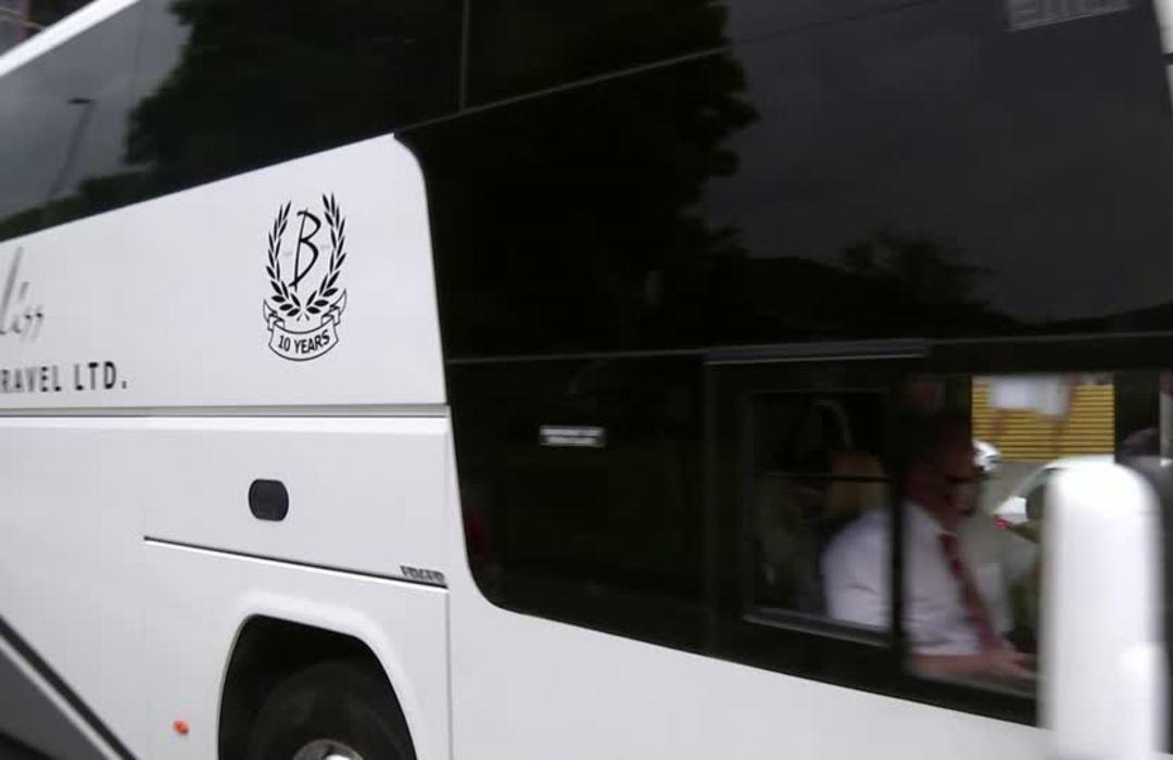 Sheffield Utd team arrives at Aston Villa for Premier League returns