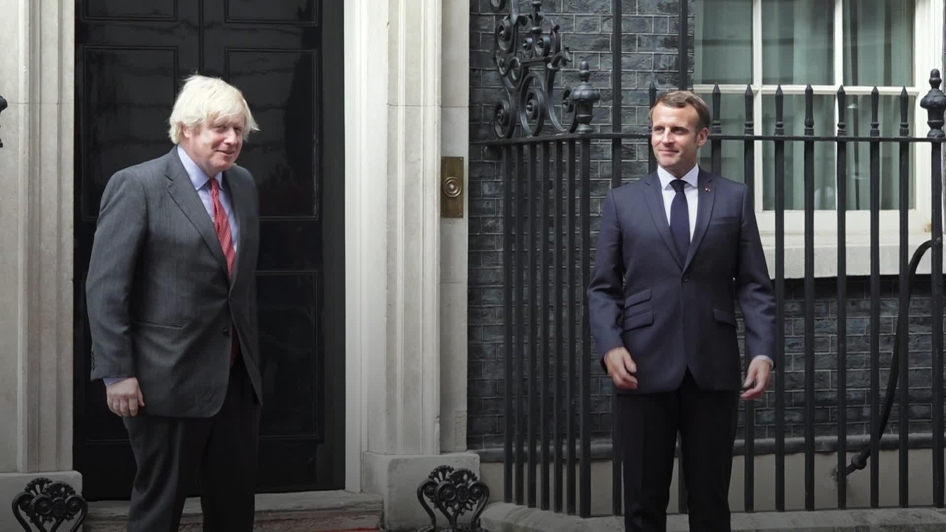 Emmanuel Macron meets Boris Johnson outside 10 Downing Street