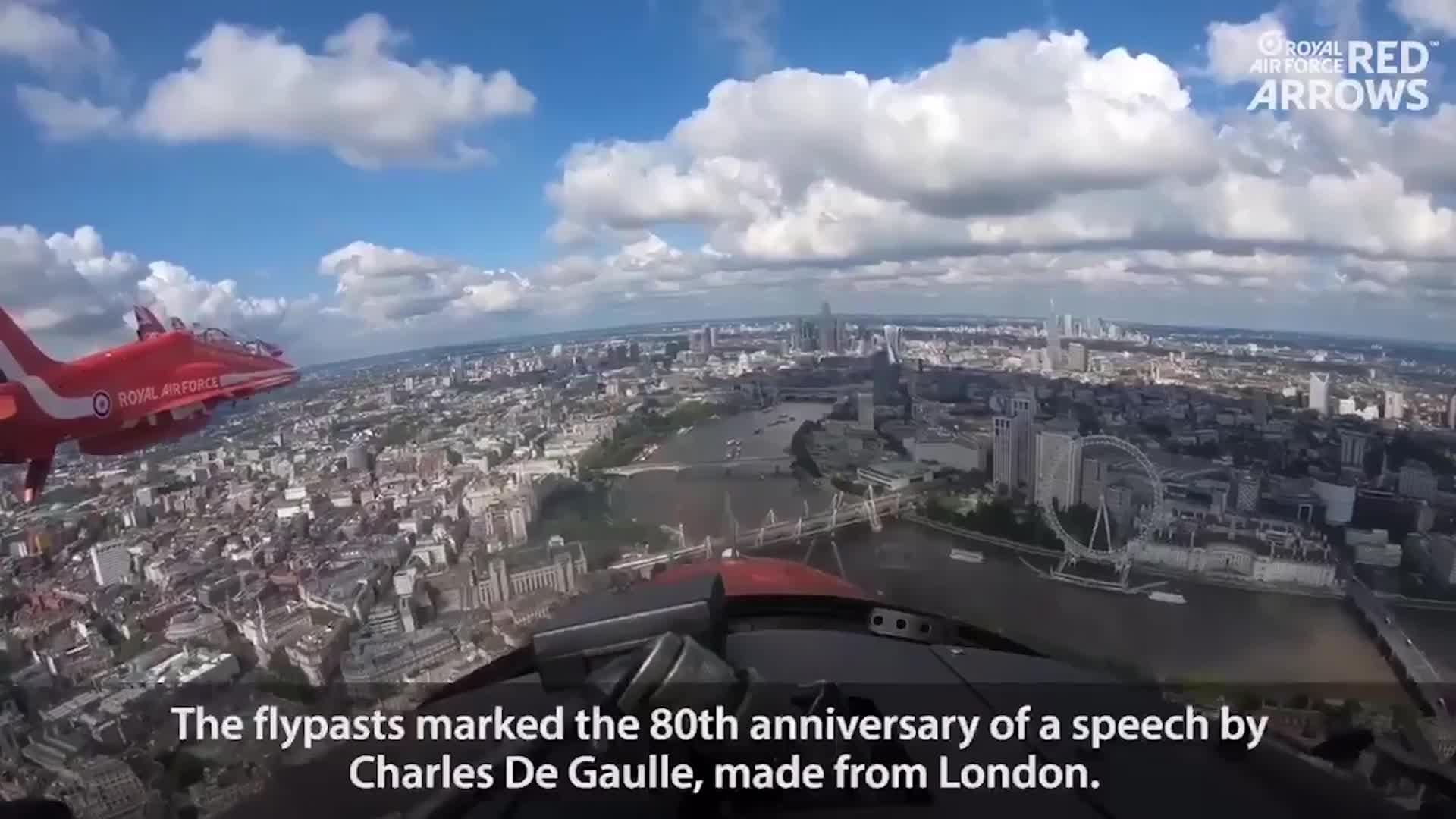 Red Arrows fly over London and Paris to mark Charles de Gaulle's to mark historic broadcast