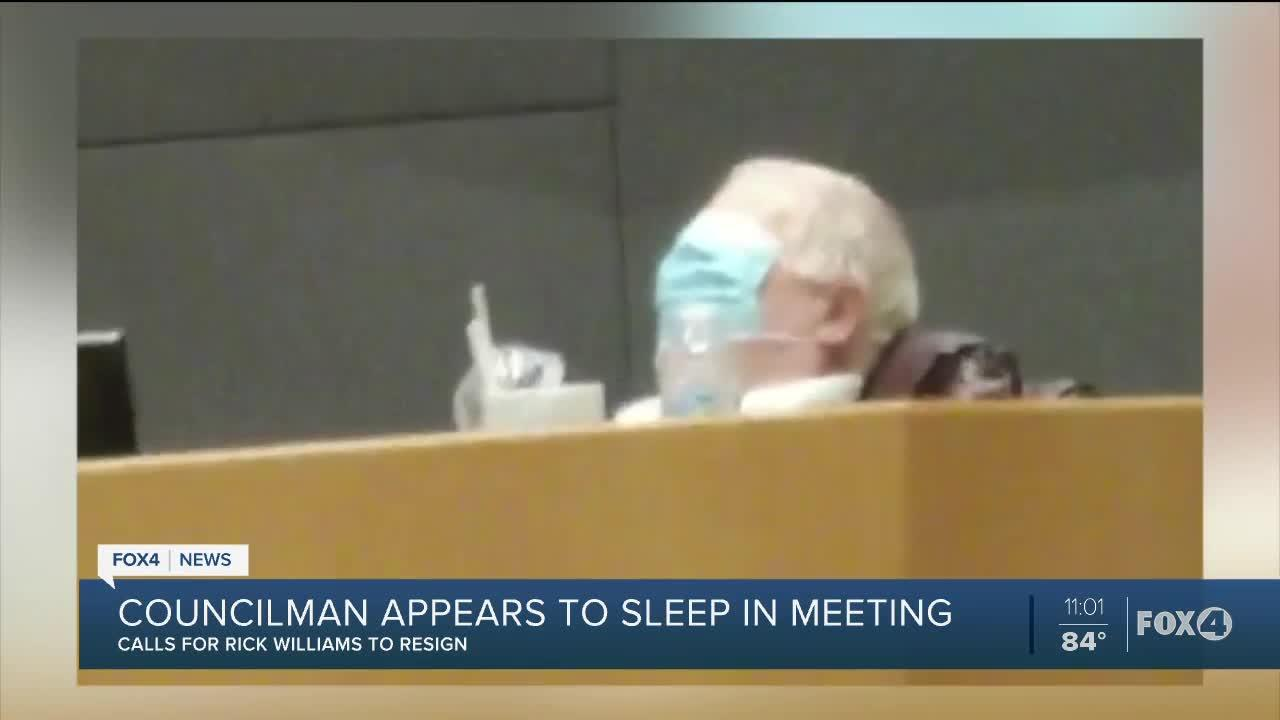 Cape Coral Councilman Rick Williams appears to sleep during mask mandate meeting.