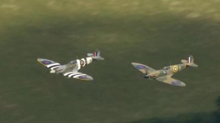 RAF Spitfires salute forces' sweetheart Dame Vera Lynn