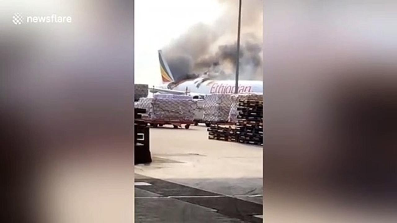 Ethiopian Airlines cargo plane catches fire at Shanghai Pudong Airport
