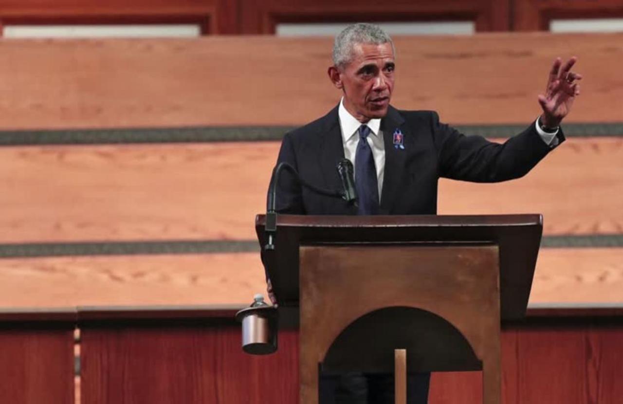 Rep. Lewis praised by 3 presidents at funeral
