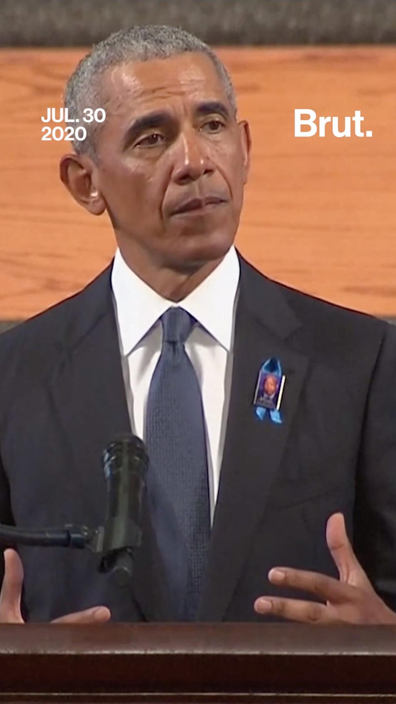 Barack Obama gives powerful eulogy at funeral for John Lewis