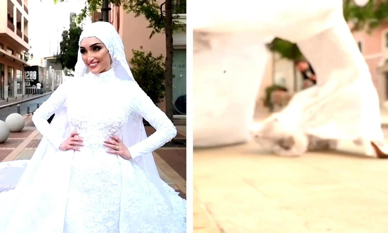 Footage shows moment Beirut explosion hits as bride poses for photographs – video