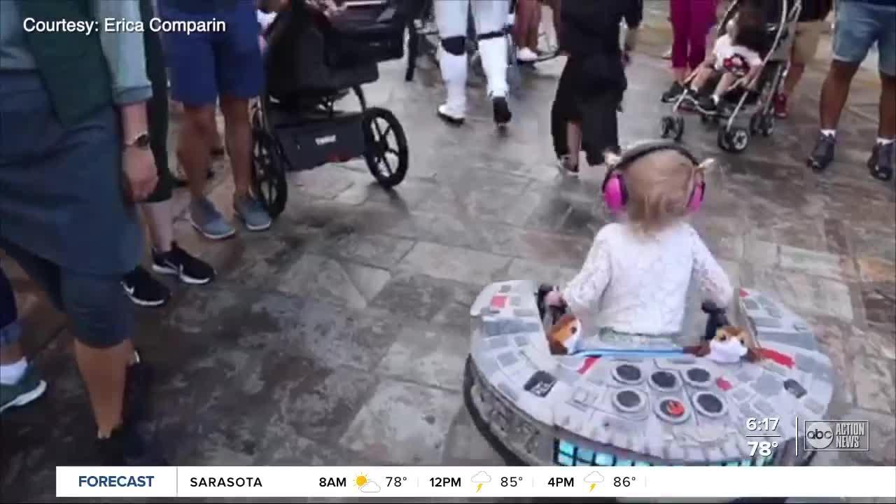 Toddler born with spina bifida builds leg muscle walking all over Disney World