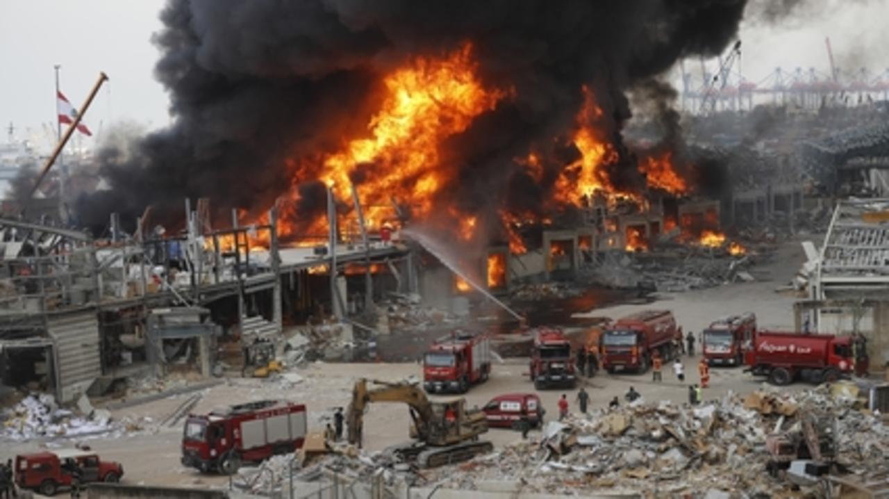 Beirut sees huge fire at same site of previous deadly blast