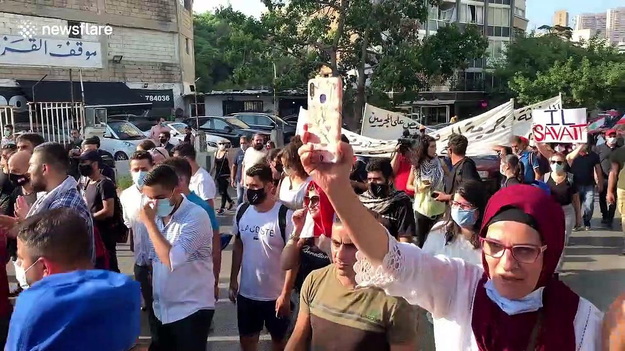 Protesters in Beirut take to the streets to demonstrate against government