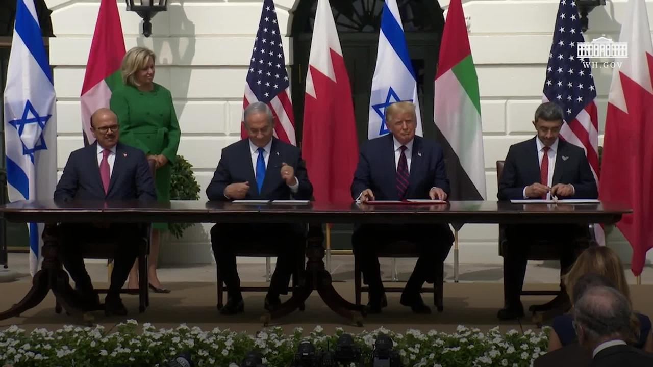 Donald Trump presides as Israel and Arab states sign historic pacts