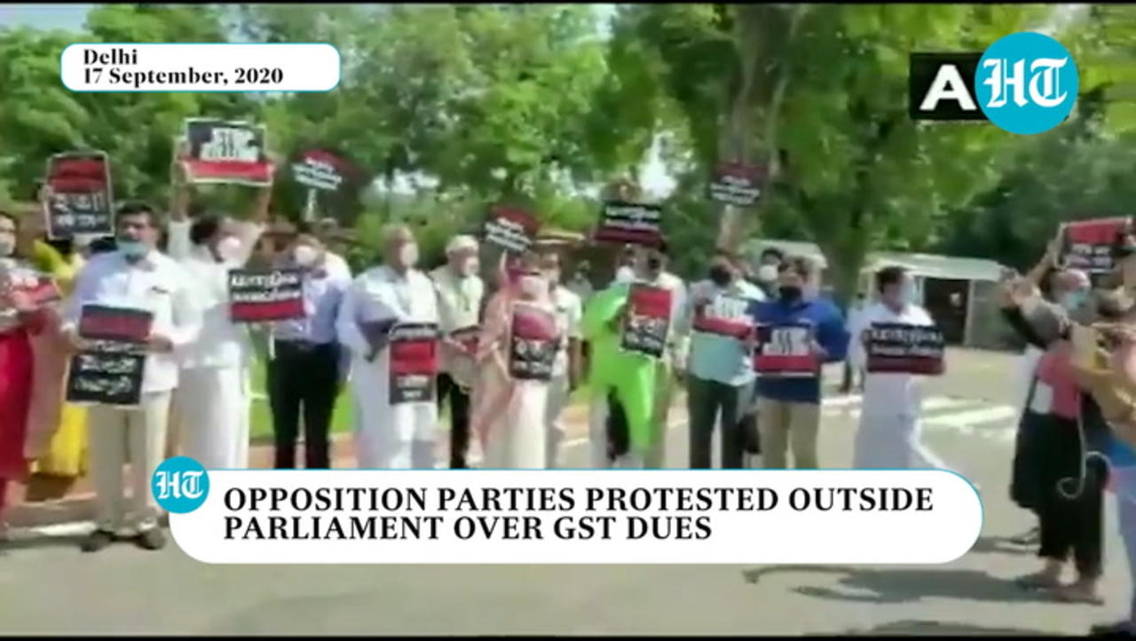 Watch: Opposition parties protest in Parliament premises over GST dues