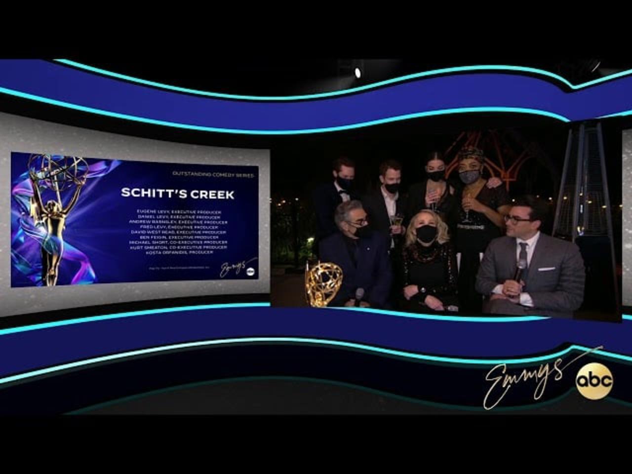 Schitt's Creek Cast Talk Historic Emmy Wins and How Their 'Gentler World' Changed LGBTQ+ TV Romances