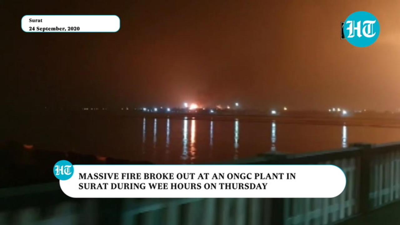 Watch: Massive fire breaks out at ONGC plant in Surat, no injuries reported