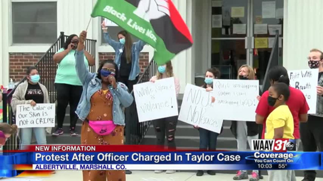 Protest in Albertville after officer charged in Taylor case
