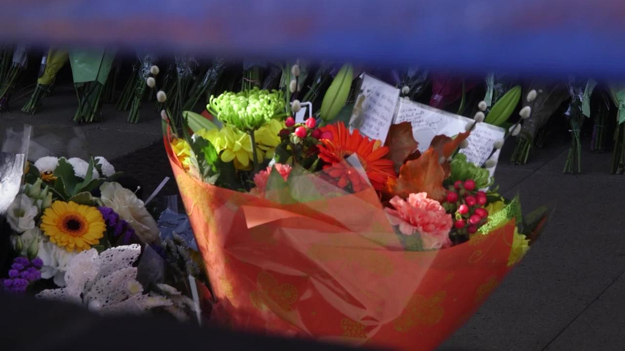 Floral tributes to killed police sergeant in Croydon