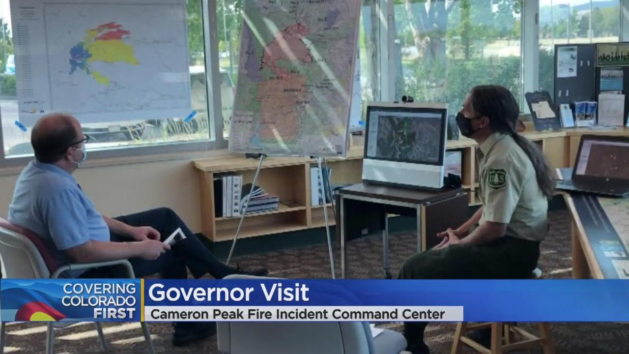 Colorado Governor Visits Cameron Peak Fire Incident Command