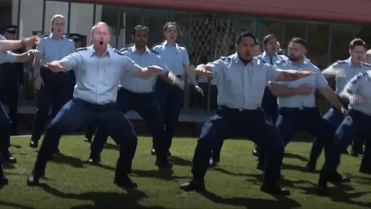New Zealand police perform haka to honour ex-colleague Sergeant Matt Ratana