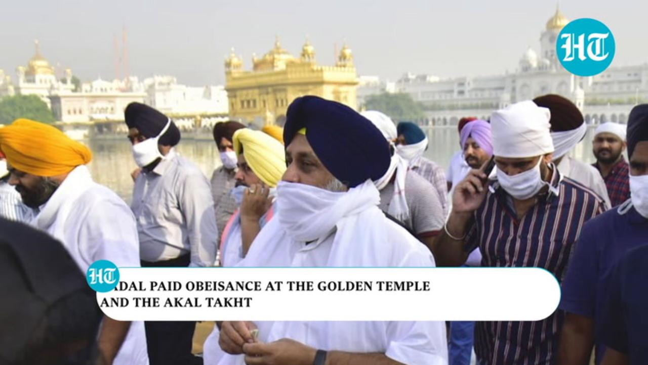Watch: Sukhbir Badal begins 'Kisan March' after praying at Golden Temple