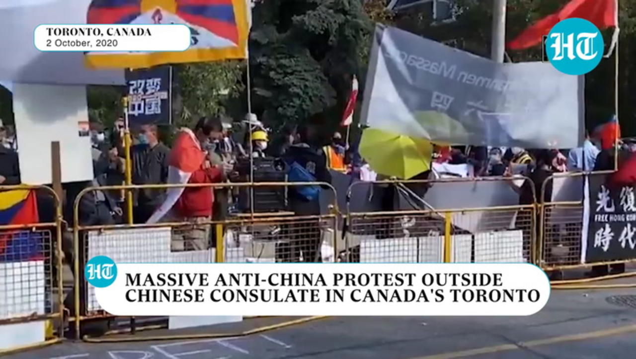 Watch: Massive anti-China protest outside Chinese Consulate in Toronto