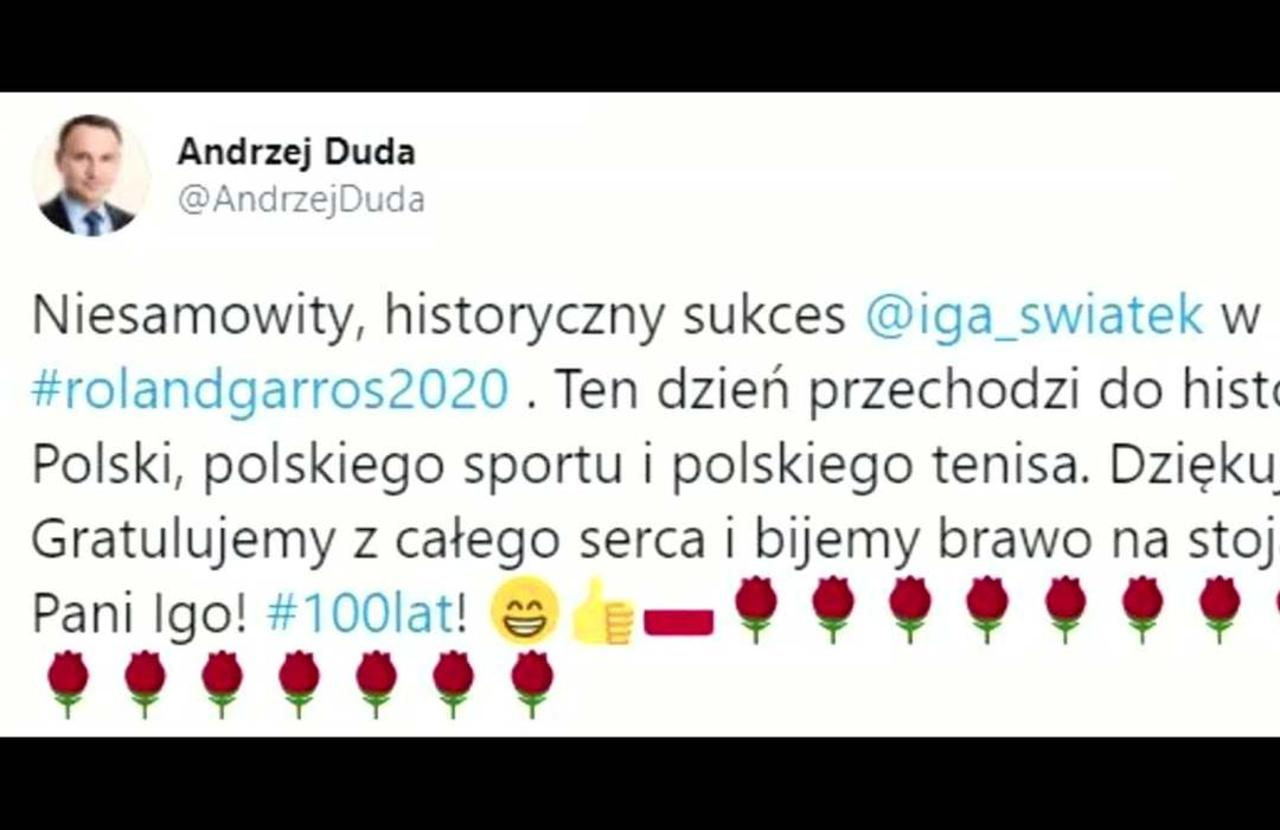 Polish President Duda among those congratulating French Open champ Swiatek on social media