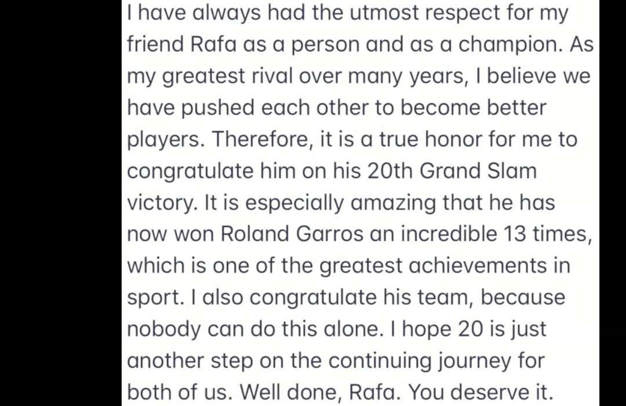 Federer tweets congrats to Nadal on tying his record of 20 Grand Slam singles titles