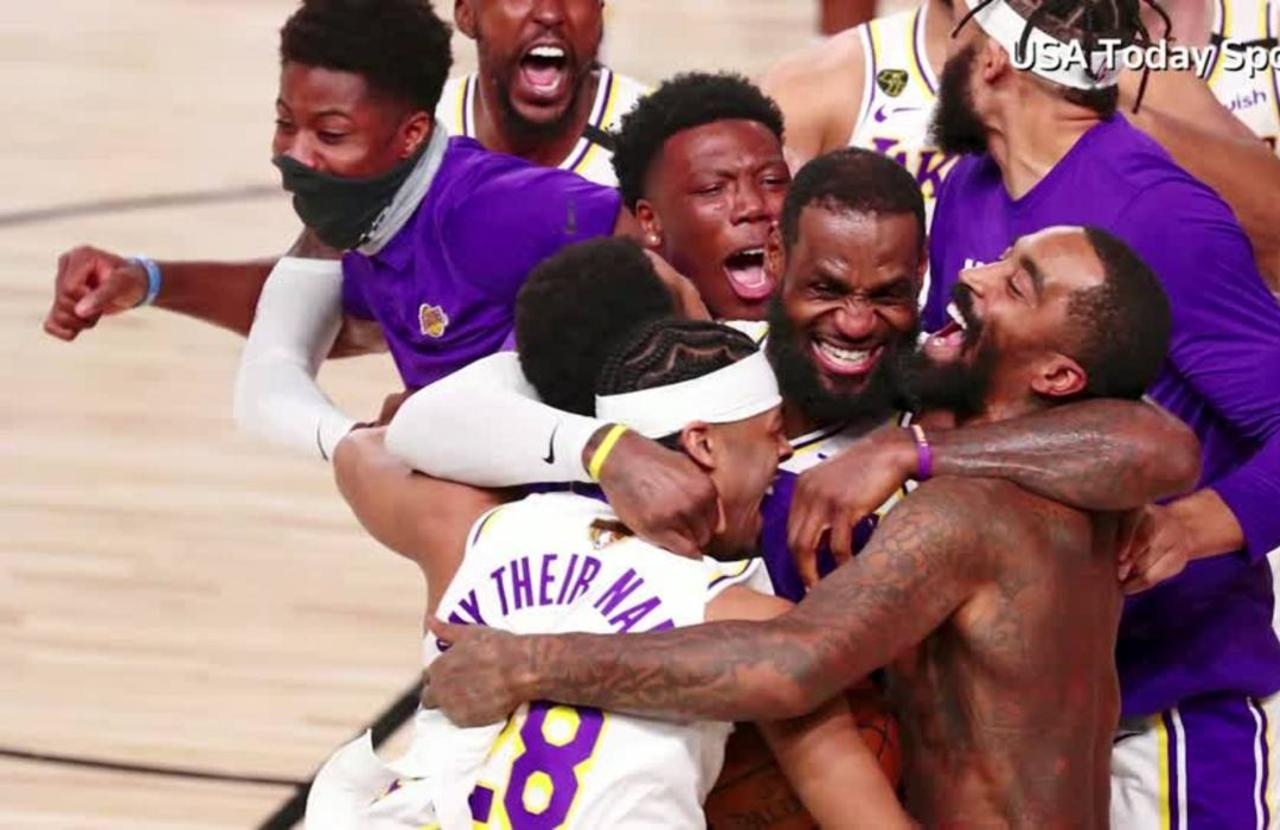 Lakers fans go wild after NBA championship win - One News ...