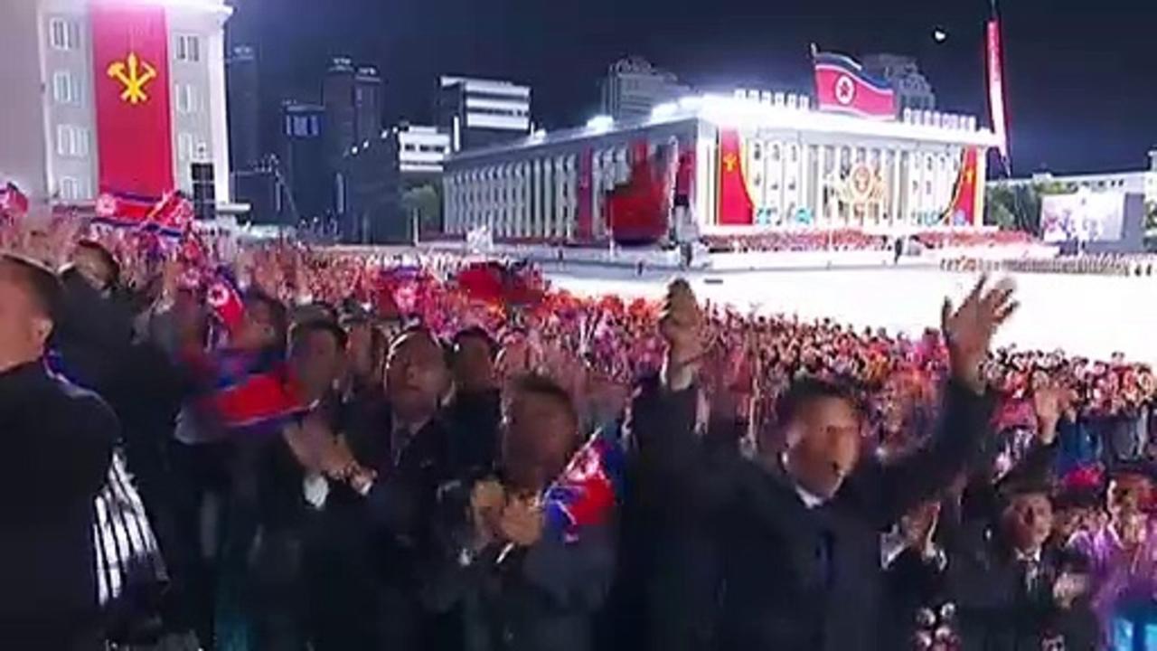 Kim Jong-un tears up during massive military parade