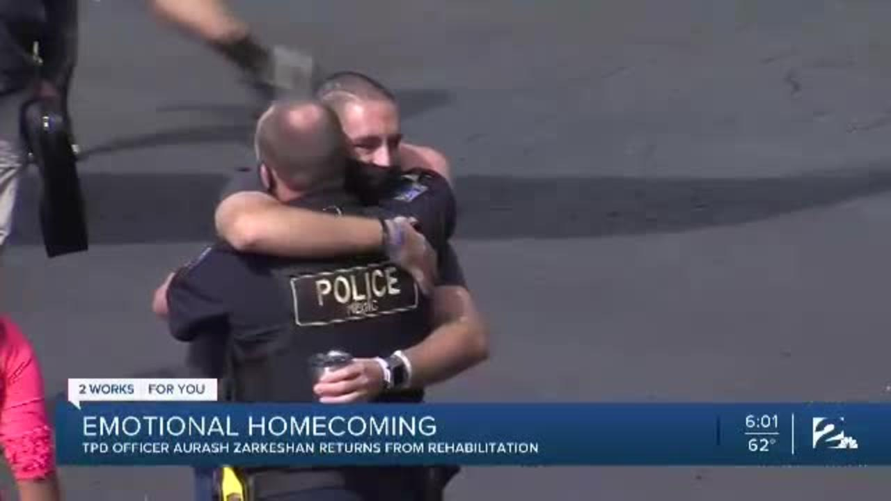 Tulsa police officer shot in the line of duty returns home