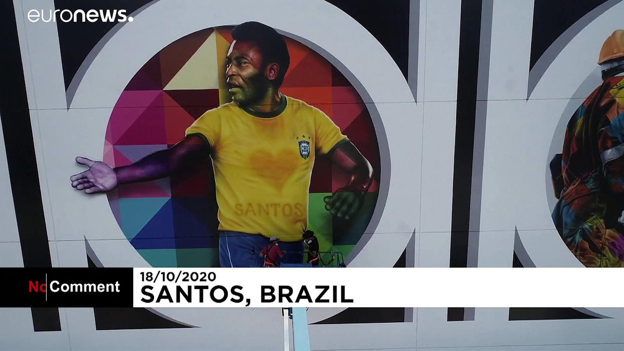 Pele's home town pays tribute to footballing legend with mural for 80th birthday