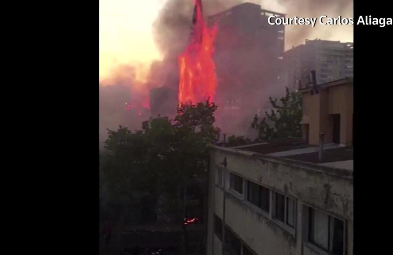 Chilean church spire collapses during protests