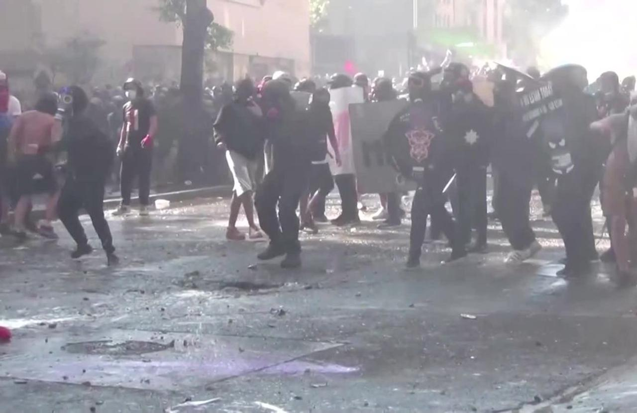 Churches burn during violent protests in Chile
