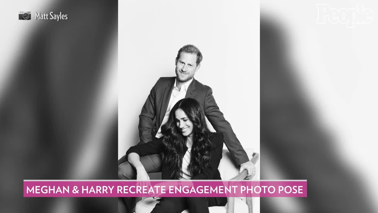 Meghan Markle and Prince Harry Recreate Engagement Photo Pose in First Portrait Since Royal Exit