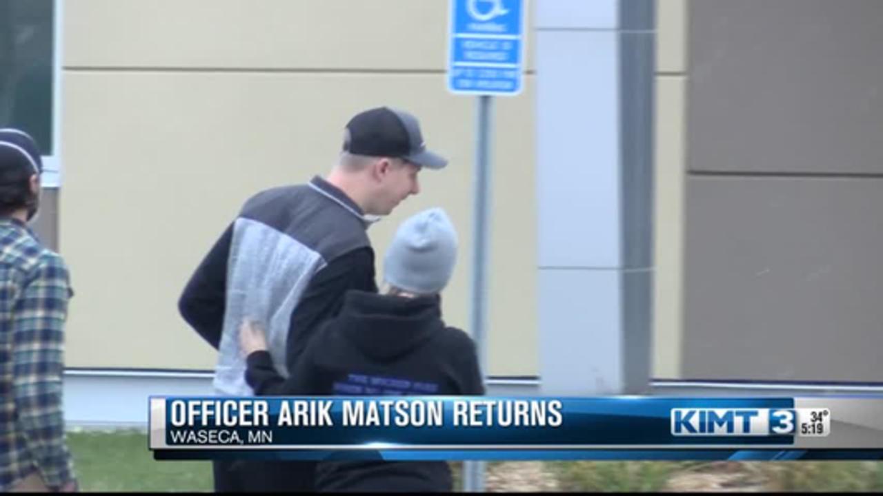 Officer Arik Matson returns home