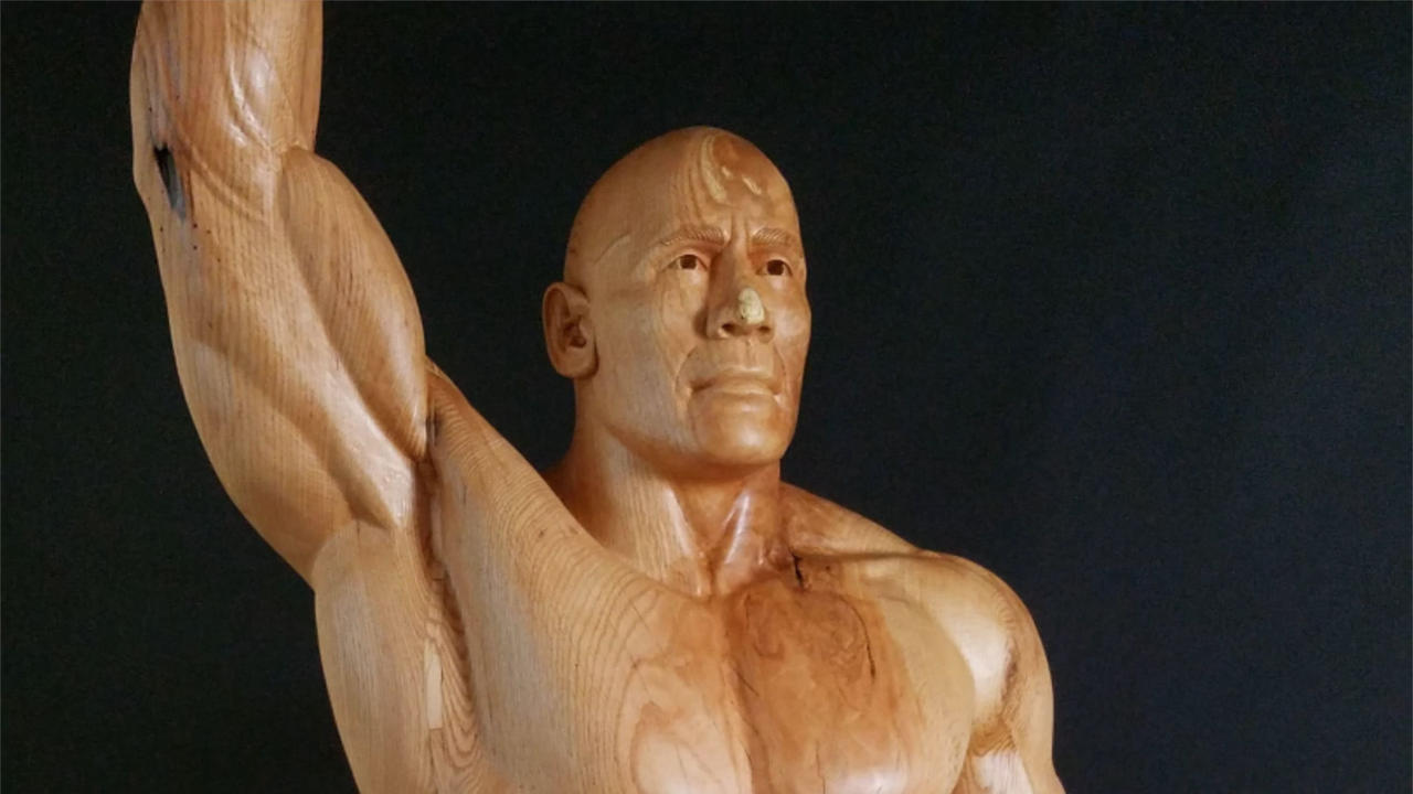 Man Carves Sculpture Of Dwayne Johnson From A Tree