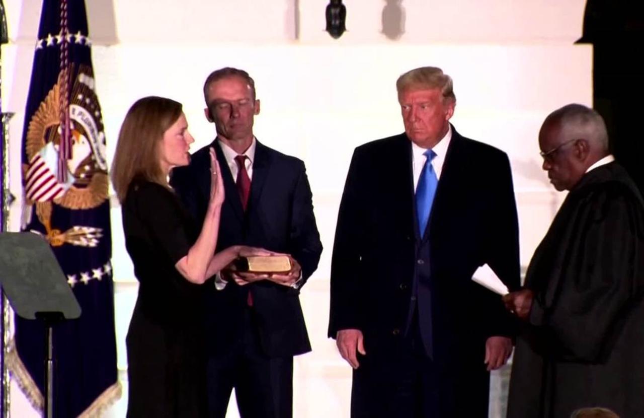 Trump celebrates as Amy Coney Barrett sworn in