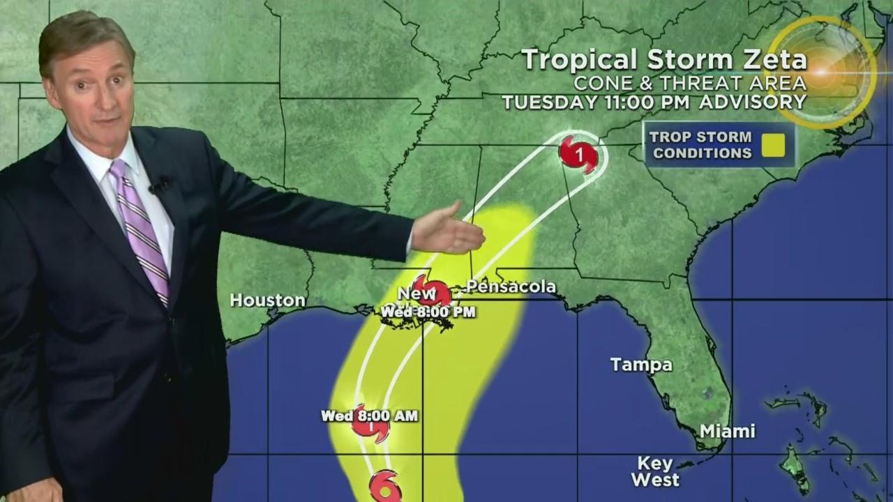 Tracking Tropical Storm Zeta 10-27-20 11PM
