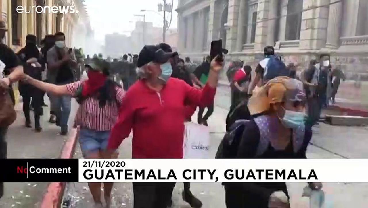 Flames rip through Guatemala's Congress as street battles rage